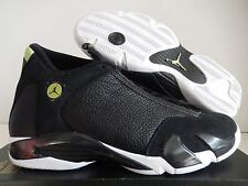 NIKE AIR JORDAN 14 RETRO BLACK-BLACK-WHITE-VIVID GREEN SZ 8 [487471-005]