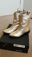 Stylish Giuseppe Zanotti metallic gold leather Western style ankle boots  36 1/2