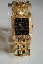 Men's Designer Inspired Geneva gold Finish Nugget style bracelet fashion watch