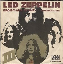 """LED ZEPPELIN BRON Y AUR STOMP / IMMIGRANT SONG RARE 1970 RECORD ITALY 7"""" PS"""