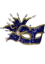Rose Brocade Masquerade Mask - Blue & Gold Genuine Forum Novelties - New