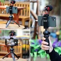 UALNZI Mobile Phone Video Kit with Mini Tripod + LED Light + Microphone + Clip