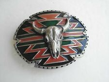 BELT BUCKLE SKULL  VINTAGE INLAY NATIVE AMERICAN INDIAN DESIGN MADE IN USA NA-8