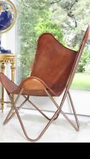 For Indoor Outdoor Handmade Vintage Leather Butterfly Chair With Fully Foldable