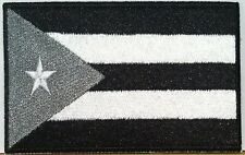 CUBA FLAG Embroidered Iron-On PATCH Tactical EMBLEM GRAY & BLACK  #461
