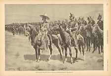 Frederic Remington, The Mexican Major, Horses, Military, Vintage 1890 Antq Print