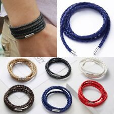 Punk Wrap Cuff Unisex Women Men Braided Leather Bracelet Handmade Wristband New