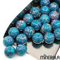 [WHOLESALE] LAB CREATED OPAL FIRE TURQUOISE FULL DRILL ROUND BEADS VARIOUS SIZES