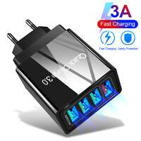 4 USB Ports QC3.0 Fast Quick Charge Hub Wall Charger Power Adapter US EU UK Plug