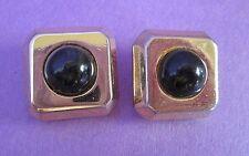 Lanvin Paris Gold Tone Clip Earrings Signed Vintage Jade Black Faux Stone RARE