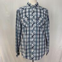 Levi's Shirt XL Blue Plaid Long Sleeve Button Down Western Pearl Snap