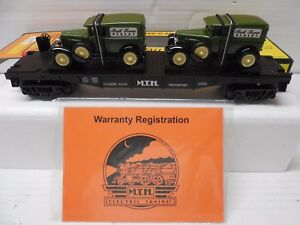 O Scale MTH 30-7671 MTH Flatcar w/ 2 1930 Half-Ton Panel Vans