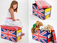 Aufbewahrungsbox mit Deckel Spielzeugkiste Spielzeugbox Sitz Hocker / UK Flagge