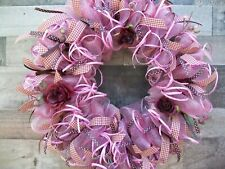 Pink & Burgundy Deco Mesh Wreath with Roses and Raffia Ribbon