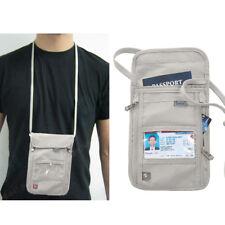 Passport Holder Neck Pouch RFID Blocking Premium PU Leather Travel Wallet Stash