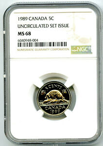 1989 CANADA 5 CENT NICKEL NGC MS68 UNCIRCULATED SET ISSUE POP ONLY 3