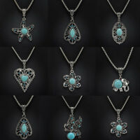 Fashion Women Tibetan Silver Turquoise Crystal Pendant Vintage Chain Necklace