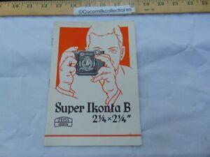 "Vintage 1938 Instrcution Manual Booklet Super Ikonta B Camera Zeiss Ikon 2 1/4 """