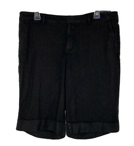 NYDJ NOT YOUR DAUGHTER JEANS Bermuda Cuffed Black Shorts Linen blend NWT Sz 14