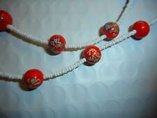 Vintage Red Milifiori Art Glass NECKLACE Unused Old Stock
