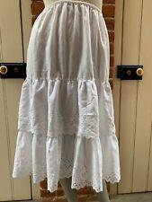 "Vintage Dirndl White Petticoat Broderie Hem Detail 27"" to 30"" Elasticated"