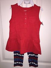 NEW 18 MONTHS CARTERS OUTFIT TUNIC AND PANTS 2 PIECE SET RED WHITE & BLUE