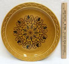 "Serving Plate Sandwich Tray Platter Stoneware Gold Retro 70s Vintage 13"" Plate"
