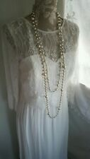 Vtg 1920,s style Downton Peaky white lace wedding dress size 10 uk