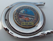 buckle with ironworker cowboy logo stainless steel gold plated belt