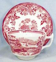 Alfred Meakin Tonquin Cup & Saucer Pink Transferware Porcelain Vintage