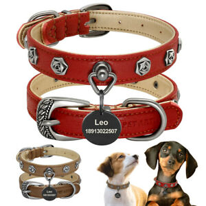 Personalized Dog Leather Collar Heavy Duty Studded Pet ID Name Tag Engraved Free
