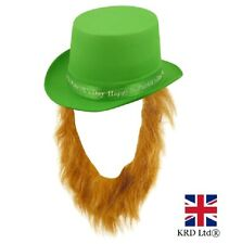 IRISH TOPPER HAT WITH BEARD St Patrick`s Day Novelty Shamrock Fancy Dress NEW UK