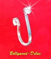 Bollywood Orecchino naso Anello per il Strass NESSUN Piercing Finto Argento