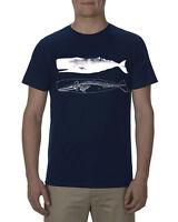 Sperm Whale and skeleton shirt, mens navy blue premium tee tshirt