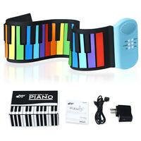 49 Keys Roll Up Piano Flexible Kids Piano Keyboard with Built-in Speaker Rainbow