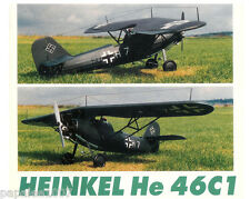 """Model Airplane Plans (RC): Heinkel He46 Monoplane 1/12 Scale 46½""""ws for .20-.25"""