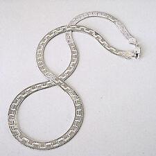 "925 Sterling Silver Flat Omega Chain 6MM Greek Key Reversible Herringbone 20"""