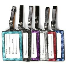 Assorted Crystal Bling Sparkling Vertical Luggage Tag and Id Holder, 6 pieces