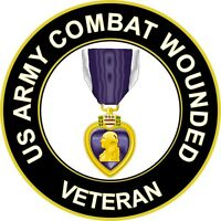 """Army Combat Wounded 'Purple Heart Medal' Vet 3.8"""" Sticker 'Officially Licensed'"""