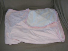 CARTERS JUST ONE YOU BABY GIRL BLANKET 1-PLY COTTON PINK WHITE STRETCHY SWADDLE
