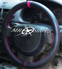 FOR VAUXHALL SIGNUM 2003-2008 REAL LEATHER STEERING WHEEL COVER + HOT PINK STRAP