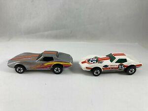 Vintage Hot Wheels White #35 Corvette Stingray Firestone & Silver w/Basic Wheels