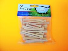 "30 Pack 2 3/4"" Natural Wood Golf Tees - Oversized Tees - Biodegradable Hardwood"
