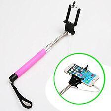 Monopiede Selfie Stick telescopico Wired Remote Cellulare Titolare Rosa