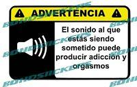 Vinilo impreso pegatina ADVERTENCIA SONIDO RACING STICKER DECAL
