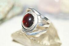 Silberring 55 Handarbeit Granat Klar Silber Echt Massiv Breit Rot Schlicht Ring
