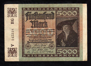 Y7F GERMANY  5000 MARK REICHSBANKNOTE 1922