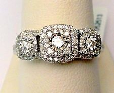 White Gold Past Present Future Three Stone Halo Style Diamonds Engagement Ring