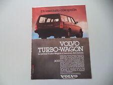 advertising Pubblicità 1983 VOLVO TURBO SW STATION WAGON