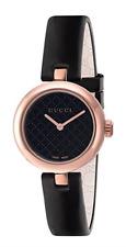 Gucci Diamantissima Medium Pink Gold Black PVD Black Leather Band Watch YA141401